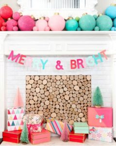 Fun and bright fireplace decor